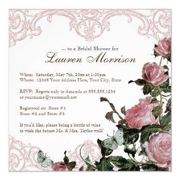bridal shower invitation - trellis rose vintage