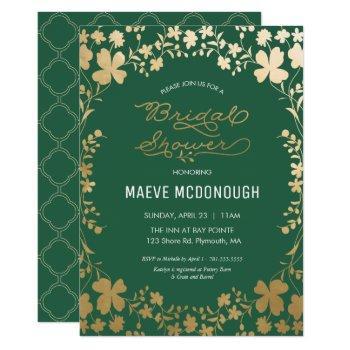 bridal shower invitation, vintage green & gold invitation