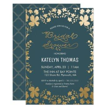 bridal shower invitation, vintage teal & gold invitation
