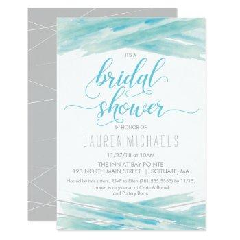 bridal shower invitation - watercolor, blue silver