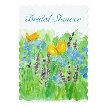 bridal shower invitation watercolor wildflowers