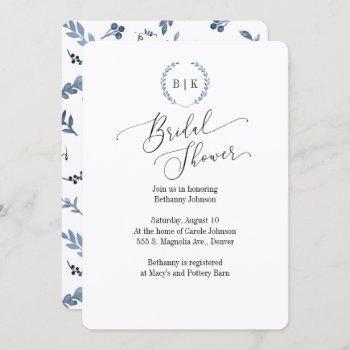 bridal shower invitation with blue laurel monogram