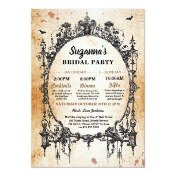 bridal shower itinerary bachelorette gothic frame invitation