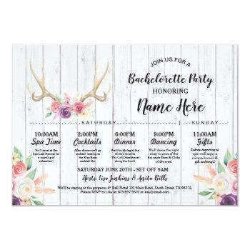 bridal shower itinerary bachelorette rustic antler invitation
