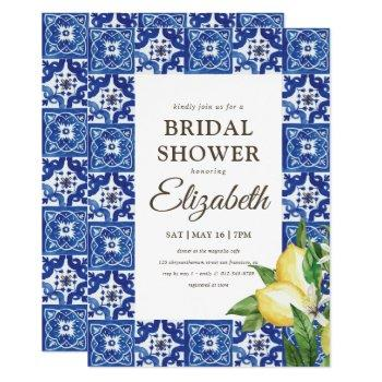 bridal shower lemon foliage blue mediterranean invitation