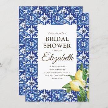 bridal shower lemon foliage mediterranean tile invitation