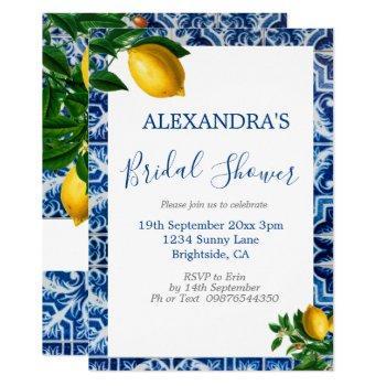 bridal shower lemons blue white tuscan tile invitation