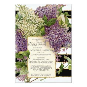 bridal shower lilac floral vintage wide stripes invitation