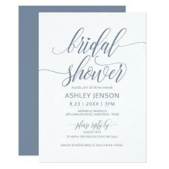 bridal shower luxe calligraphy dusty blue floral invitation