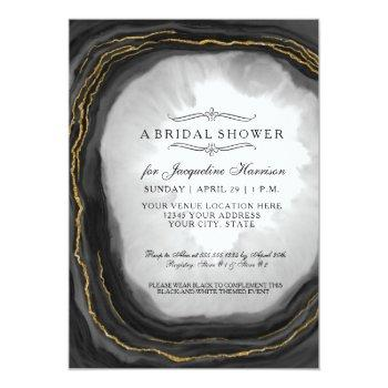 bridal shower modern simple geode black white invitation
