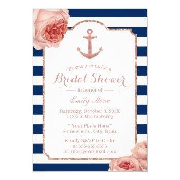 bridal shower nautical anchor vintage floral #2 invitation