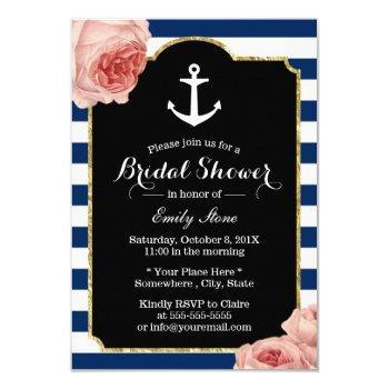 bridal shower nautical anchor vintage floral invitation