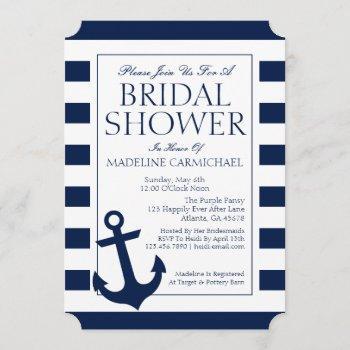 bridal shower   nautical stripes invitation