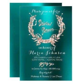 bridal shower olive wreath  rose gold teal aquatic invitation