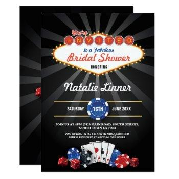 bridal shower party las vegas casino dice invite
