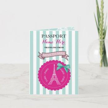 bridal shower party passport pink mint invite