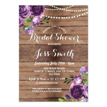 bridal shower party purple flowers chalk invite