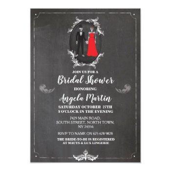 bridal shower party rose skull skeletons halloween invitation