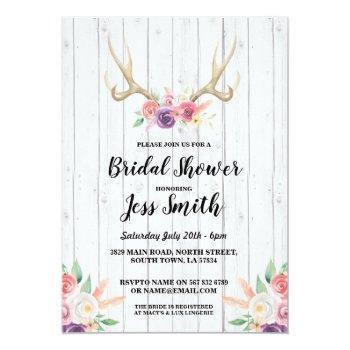 bridal shower party rustic antler floral invite