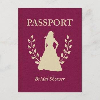 bridal shower passport invitation postcard