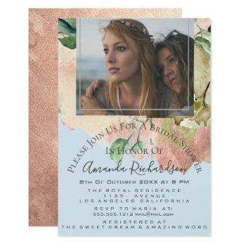 bridal shower photo floral birthday blue peach invitation