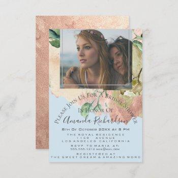 bridal shower photo floral birthday blue peach invitation