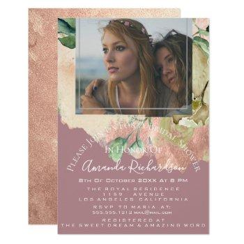 bridal shower photo floral birthday greenery blush invitation