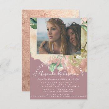 bridal shower photo floral birthday greenery blush invitation