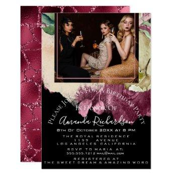 bridal shower photo floral birthday marsala glitte invitation