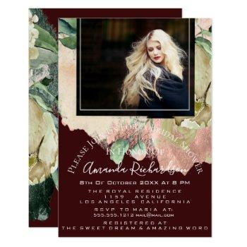bridal shower photo floral graduation burgundy invitation
