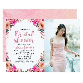 bridal shower photo invitations floral watercolor