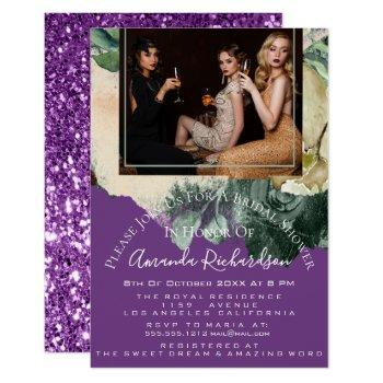 bridal shower photo purple floral birthday girls invitation