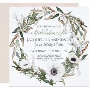 bridal shower pink rustic winery olive leaf wreath invitation