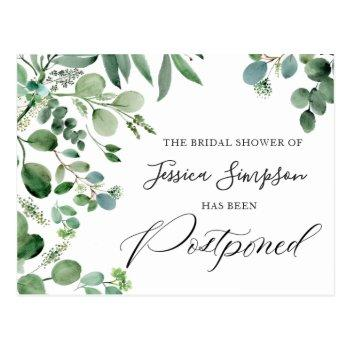 bridal shower postponed date elegant eucalyptus postcard