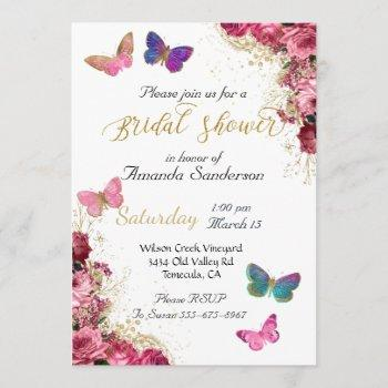 bridal shower pretty chic floral pink butterfly invitation