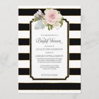bridal shower pretty flower art deco stripe modern invitation