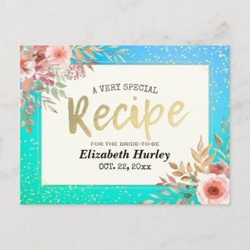 bridal shower recipe pink floral teal & gold polka invitation postcard