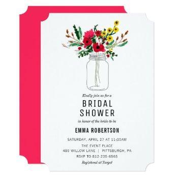 bridal shower red bouquet shower invitation