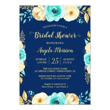 bridal shower romantic navy blue teal gold floral invitation