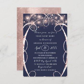 bridal shower rose gold confetti blue navy invitation