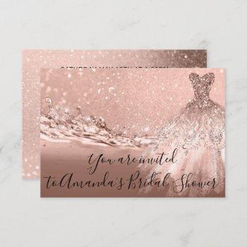 bridal shower rose gold dress glitter ocean invitation