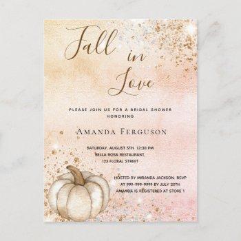 bridal shower rose gold rustic pumpkin fall love  invitation postcard