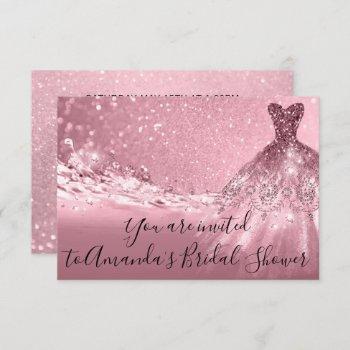 bridal shower rose pink dress glitter ocean invitation