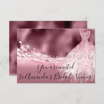 bridal shower rose spark dress glitter ocean invitation