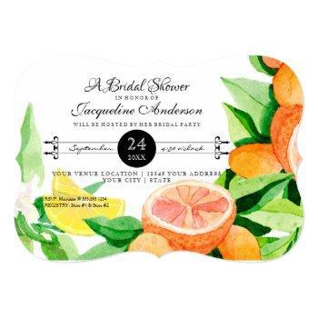 bridal shower rustic outdoor garden lemon oranges invitation