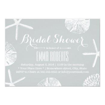 bridal shower rustic silver beach seashells invitation