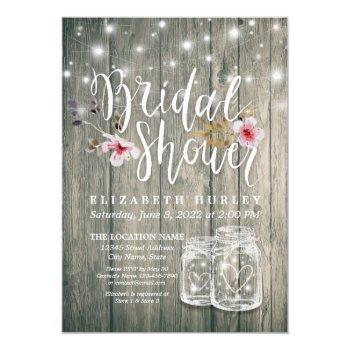 bridal shower rustic wood mason jar string lights invitation
