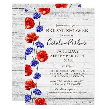 bridal shower rustic wood & red poppy country invitation