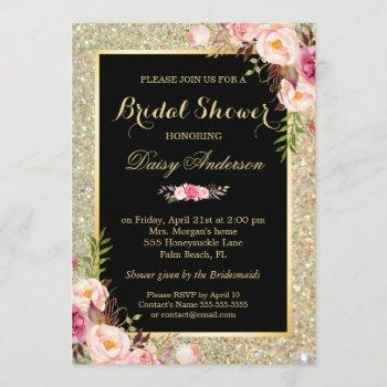 bridal shower shiny gold sparkles floral invitation