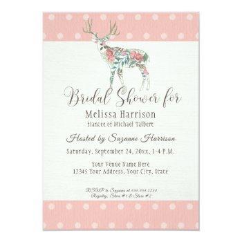 bridal shower simple dot modern rose deer antlers invitation